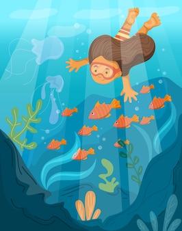Criança fofa nadando debaixo d'água