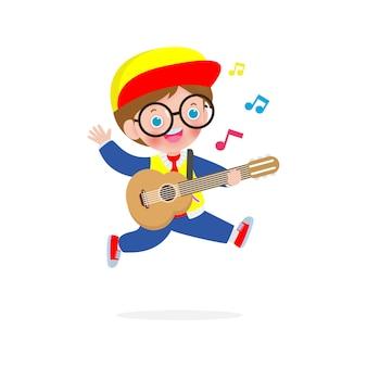Criança fofa pulando tocando violão