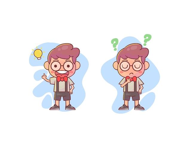 Criança geek pensando e procurando ideias