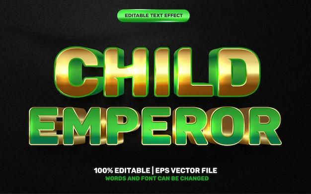 Criança imperador crianças desenho animado herói em quadrinhos efeito de texto editável em 3d