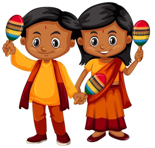 Criança indiana segurando maracas no fundo branco