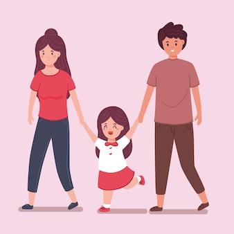 Criança indo para a escola com os pais