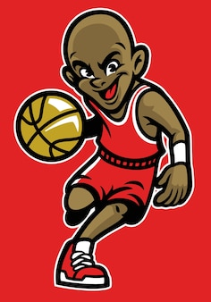 Criança jogando basquete