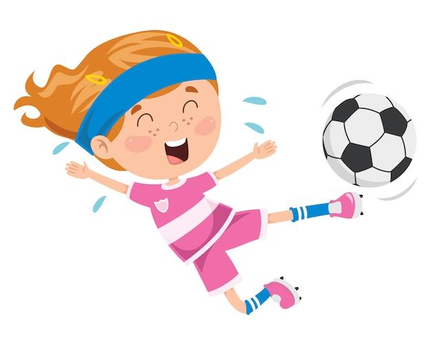 Criança jogando futebol ao ar livre
