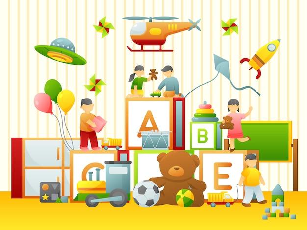 Criança, jogo, apartamento, ilustração