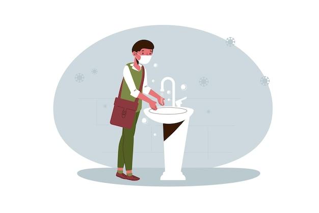Criança lavando as mãos na escola