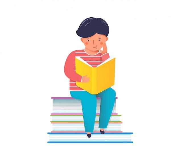 Criança lendo ilustração de livro interessante