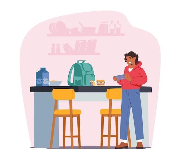 Criança leva lancheira para a escola. adolescente na cozinha com mochila na mesa preparar alimentos. caráter do aluno preparado para aprender na faculdade. de volta ao conceito de escola. ilustração em vetor desenho animado