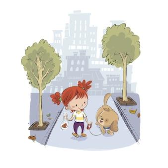 Criança levando o cachorro para passear no parque