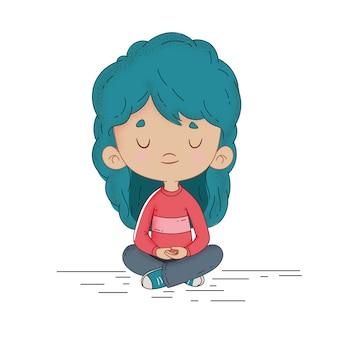 Criança, meditar, quietamente