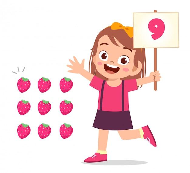 Criança menina bonitinha estudar matemática número contagem vegetal