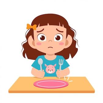 Criança menina bonitinha sentir fome quer comer