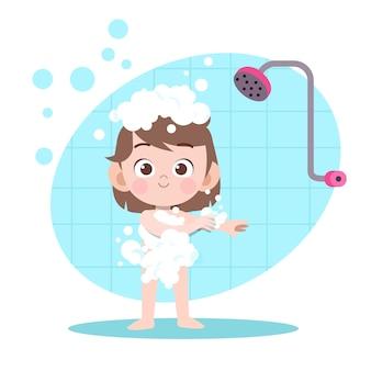 Criança, menina, chuveiro, banho, ilustração