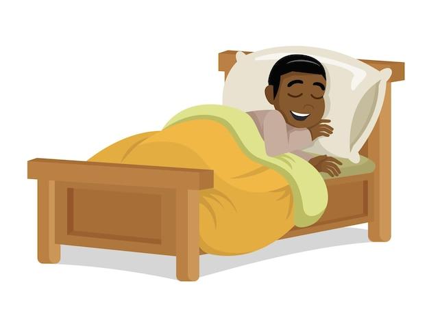 Criança menino africano dormindo e sorrindo. vetor eps10