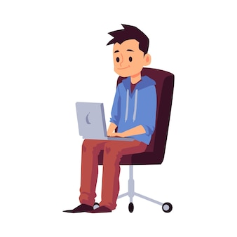 Criança, menino ou adolescente, sentado na cadeira e usando o laptop, desenho plano