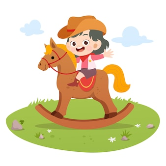 Criança, montando, cavalo, vetorial, ilustração, isolado