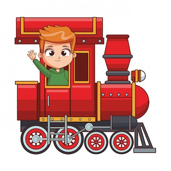 Criança, montando, trem, caricatura
