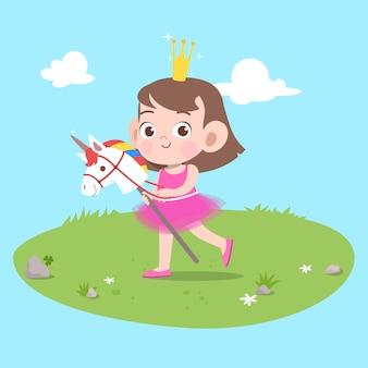 Criança, montando, unicorn, vetorial, ilustração, isolado