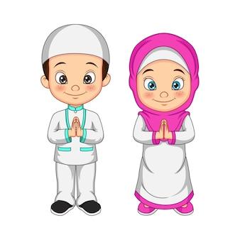 Criança muçulmana de desenho animado cumprimentando salaam