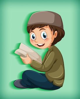 Criança muçulmana lendo livros