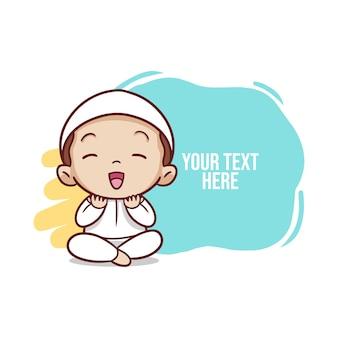 Criança muçulmana orando ilustração
