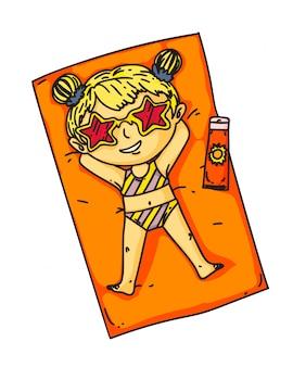 Criança na praia. menina criança isolada tomando banho de sol ou se bronzeando na praia. personagem de desenho animado de vetor criança fofa em óculos de sol e trajes de banho