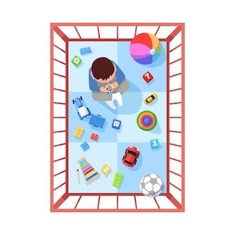 Criança no cercadinho ilustração vetorial de cor rgb semi plana. as crianças brincam com brinquedos em um espaço seguro. playground em casa para as crianças. vista superior do personagem de desenho animado isolado bebê em fundo branco