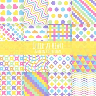 Criança no coração sem costura colorida coleção de padrões