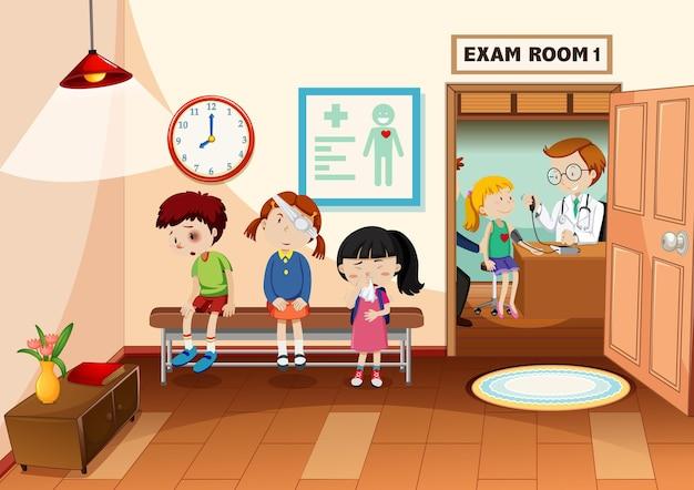 Criança no hospital com cena de médico