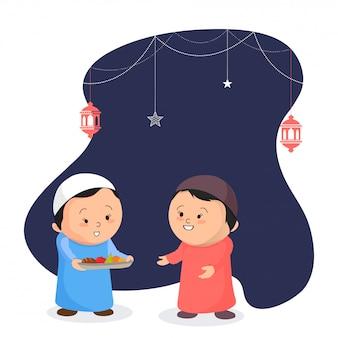 Criança pequena bonito que oferece frutos a seu amigo, conceito do partido de iftar. as crianças estão em traditiona