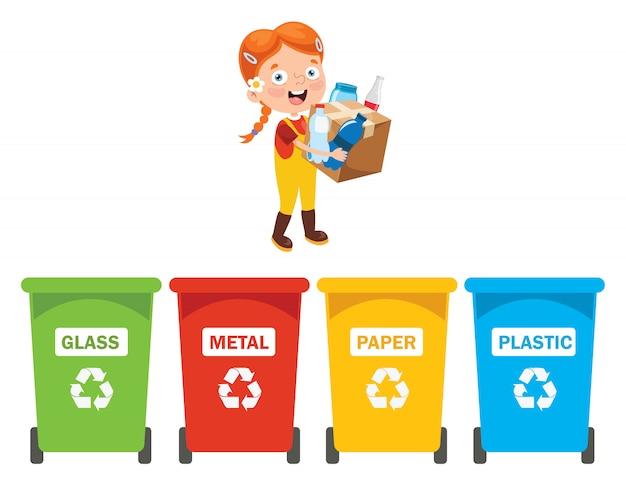 Criança pequena limpeza e reciclagem de lixo