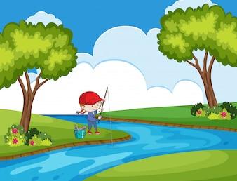 Criança, pesca, em, parque, cena