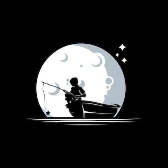 Criança pescando no modelo de design de logotipo de lua