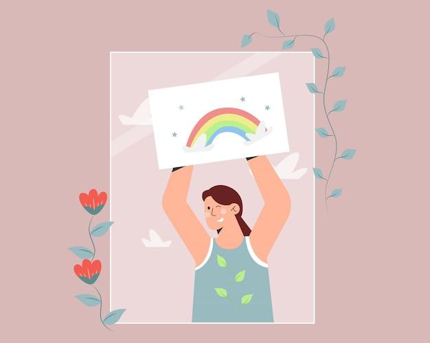 Criança pintando arco-íris