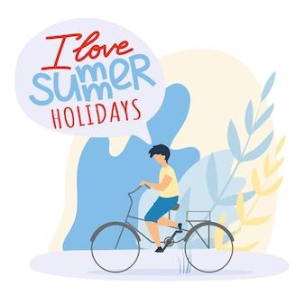Criança plana passeios de bicicleta, eu amo férias de verão.