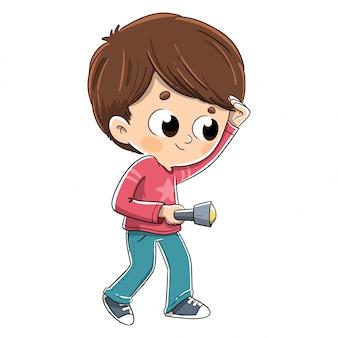 Criança, procurar, com, um, lanterna elétrica