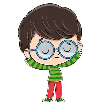 Criança que não quer ouvir. ele usa óculos e não quer ouvir o que eles dizem