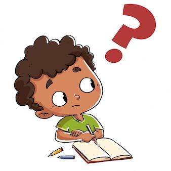 Criança que tem uma pergunta com um ponto de interrogação