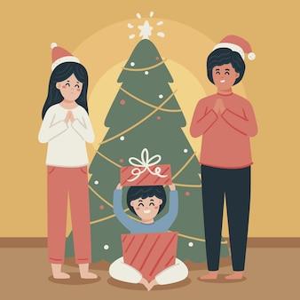 Criança recebendo um presente de natal
