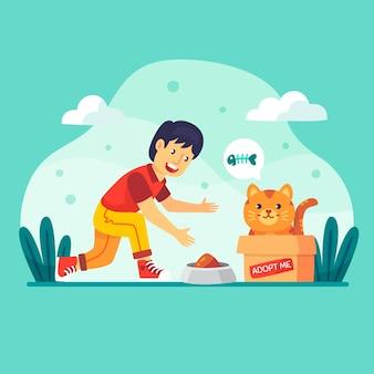 Criança sendo feliz adotando um gato