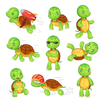 Criança tartaruga. executando personagens de desenhos animados de tartaruga rápida.