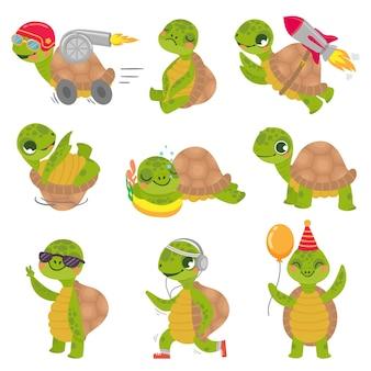 Criança tartaruga. mascote de tartarugas verdes pequeno bonito, tartaruga de foguete rápido e conjunto de ilustração de tartaruga dormindo.