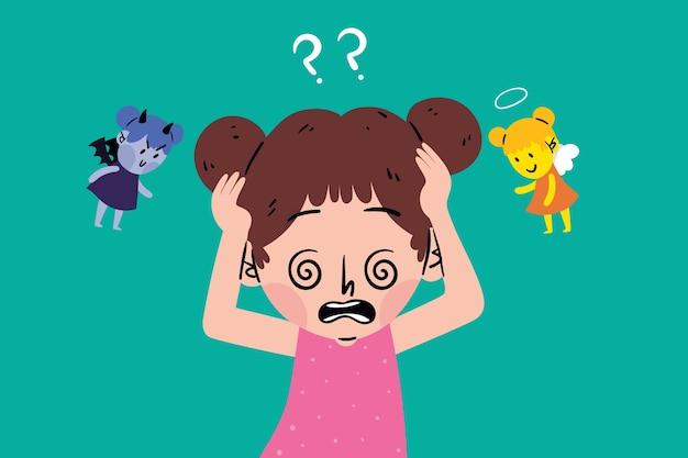 Criança tendo um dilema ético