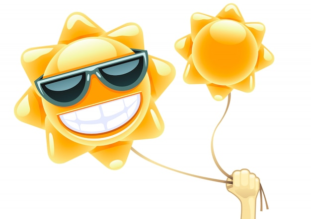 Criança, tocando, com, balões sol