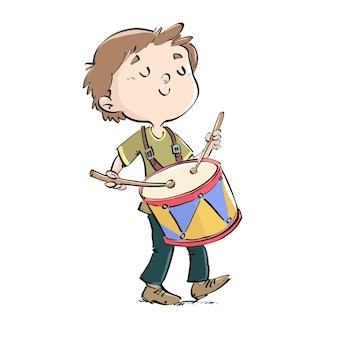 Criança, tocando, um, tambor