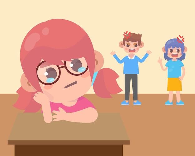 Criança triste com pai zangado e mãe brigando