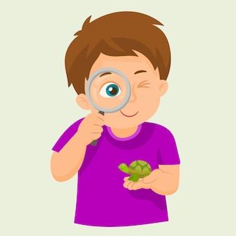 Criança, usando, magnifier