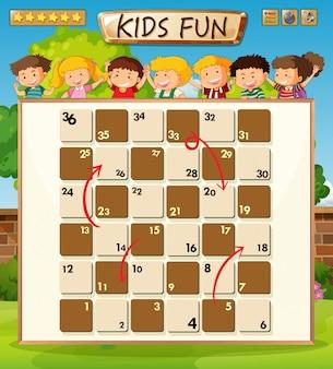 Crianças a bordo do modelo de jogo