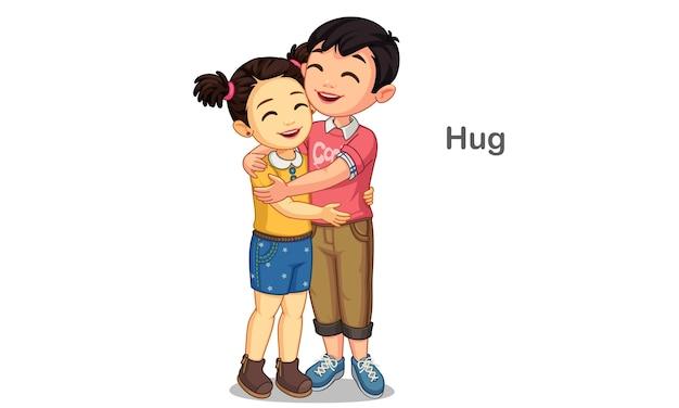 Crianças abraçando ilustração