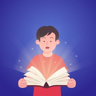 Crianças abrindo o conceito de livro de ilustração de livro com luz mágica